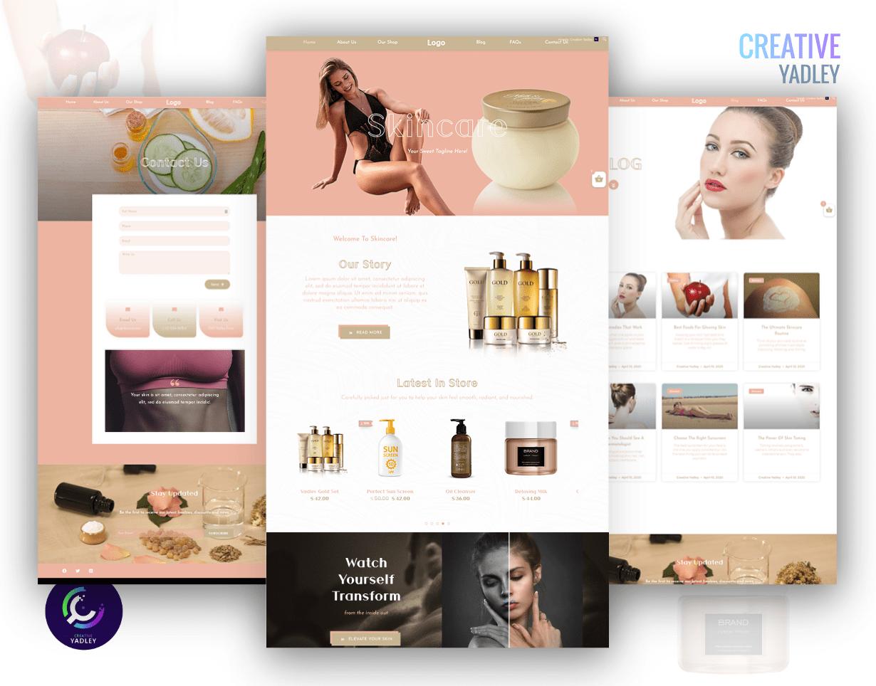 Skincare website screenshot